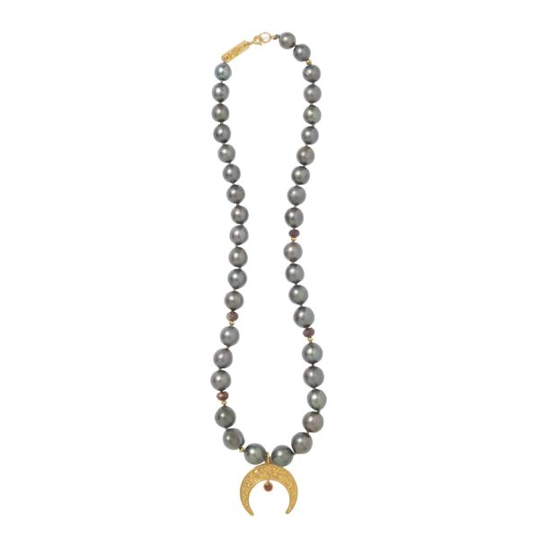 LUNULA WITH PEARLS necklace - Anka Krystyniak