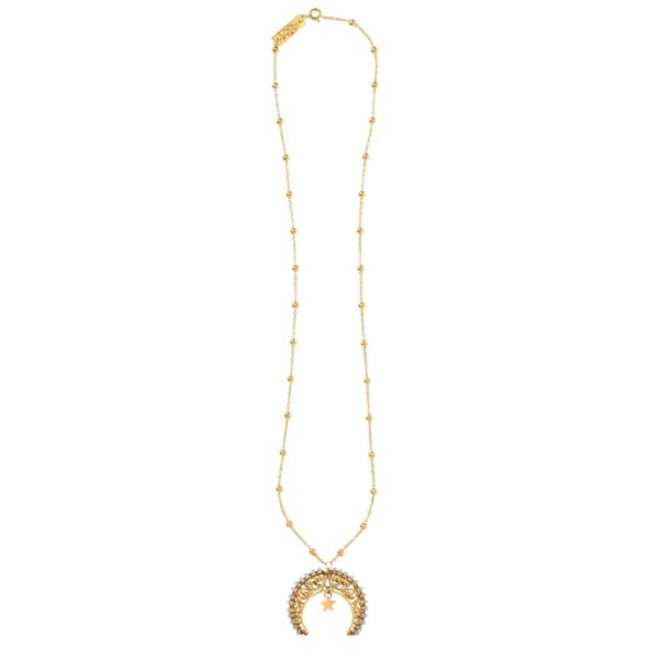 Anka Krystyniak - LUNULA WITH MOUNTAIN CRYSTALS necklace